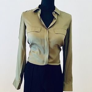 Theory Olive Green Silk Button Down Shirt Blouse